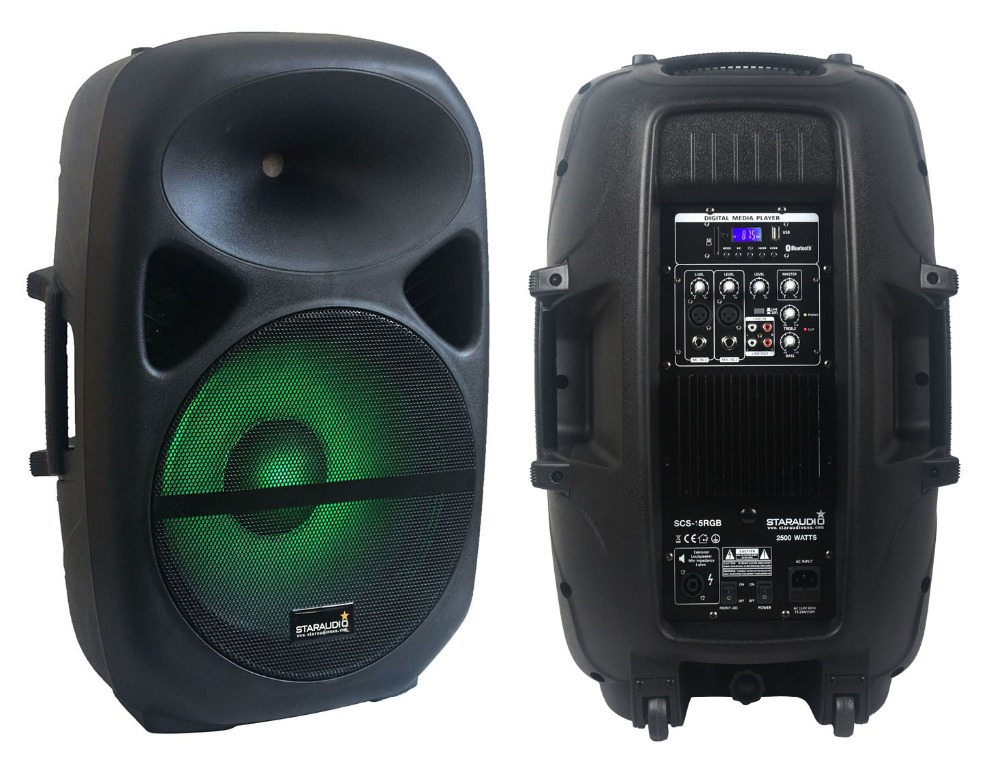 2500w 15inch pro dj pa powered speaker with bluetooth sd card usd mp3 player microphone input out put for church party ktv show