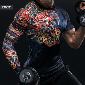 Image 3 - ZRCE 3D Dragon Print Gym Funny Clothing Quick Dry Fitness Joggers Men Fashion Sweatshirt With Arm Sleeve Stranger Things T Shirt