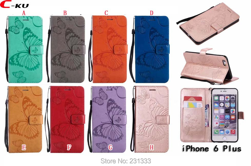 C-ku For Iphone X 8 7 Plus 6 6S SE 5 5S IphoneX Butterfly Wallet Leather Pouch Case Strap Stand ID Card Cover Skin Luxury 100pcs