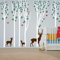POOMOO Wall Decals NEW Birch Tree Wall Decal Aspen Forest Birds Deer Vinyl Sticker Nursery Art Decor h108in