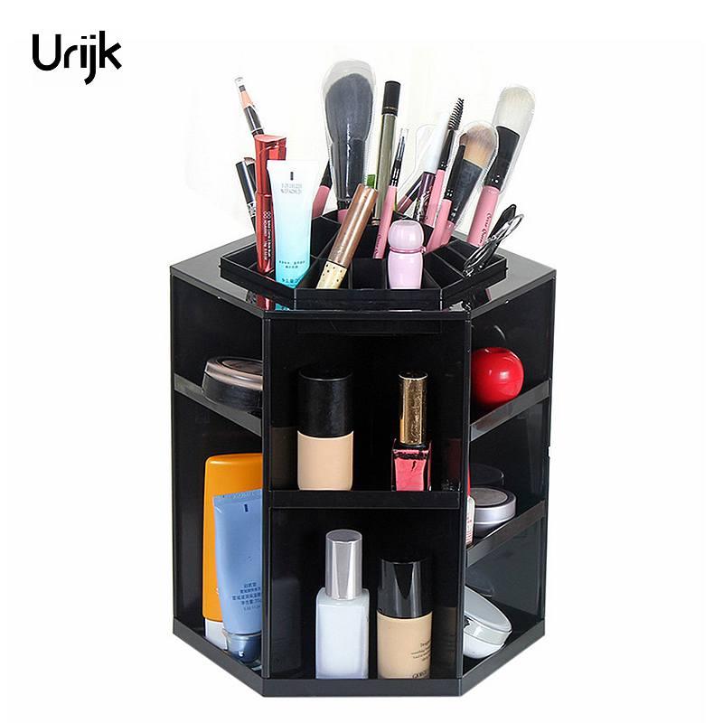 Urijk Rotating Makeup Organizer for Cosmetics Storage Boxes Desk Accessories Organizer Make Up Jewelry DIY Box for Storage