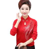 New 2017 Female Sweaters Spring Autum Winter Cheongsam Collar Pullovers Middle Aged Women Chinese Style Mother