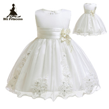 Free Shipping  Beige Infant Dresses 2019 New Arrival Lace Baby Dress For 1 Year Girl Birthday Toddler Newborn Christening Gowns