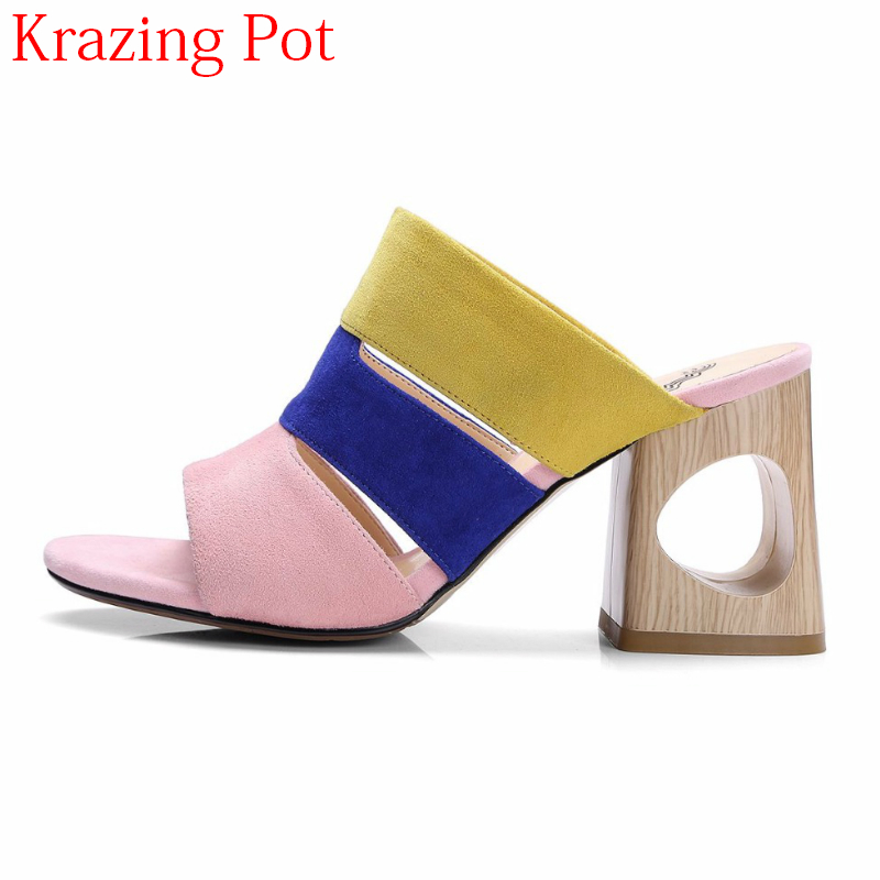 2018 New Mixed Colors Peep Toe Slingback Sheep Suede Fashion Summer Shoes Fretwork Heels Mules Slip on Elegant Women Sandals L75 elegant slip on wedges shoes women casual chunky heel summer red blue peep toe suede 2018 high heels mules platform sandals