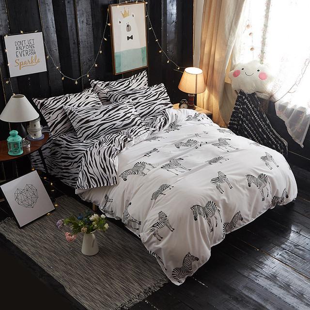 Zebra Duvet Cover Cotton Bedding Set
