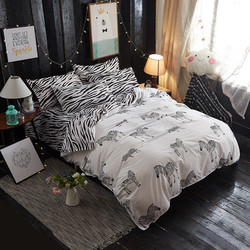 Lovely Zebra Patter Washed Cotton Four Piece Suit Bedding Set Duvet Cover Bed Sheet Pillowcase Twin Queen King Size