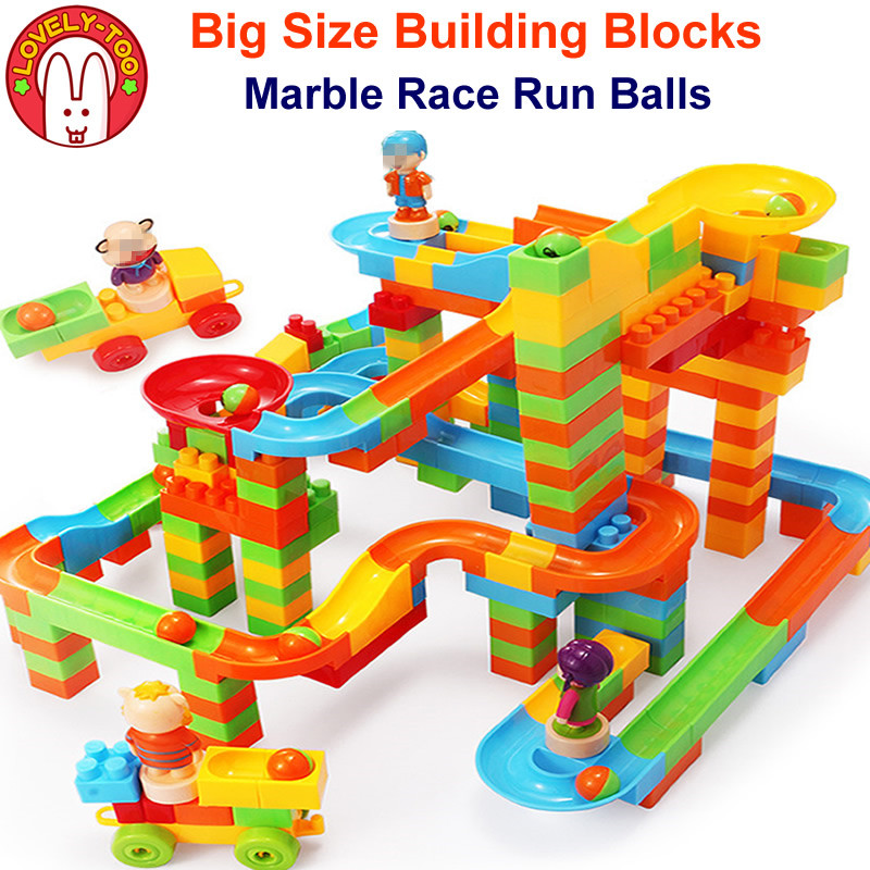 DIY Marbles Run Toy Model Building Kits Rolling Balls Brick Race Maze Track Blocks Duploe Kids Joker Game Toys For Children ball run track game toy wooden puzzles diy mini tree baby kids education puzzles fun kids toys m3011