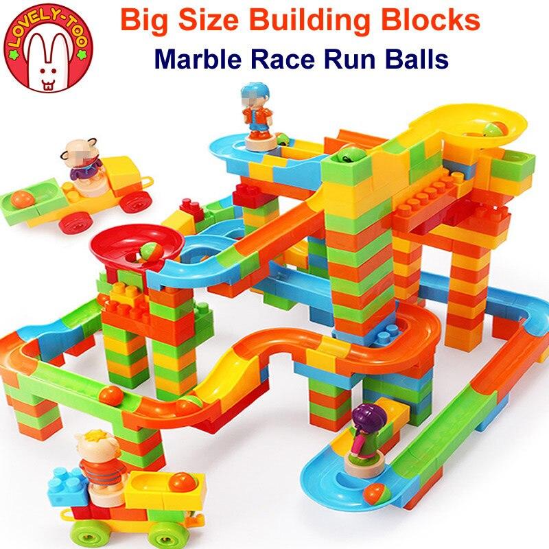 170pcs DIY Marbles Run Toy Model Building Kits Rolling Balls Brick Race Maze Track Blocks Duploe Kids Game Toys For Children