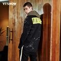VIISHOW Denim Jacket Men Jeans Jacket With Hoodie Print Bomber Jacket Mens Hooded Denim Jacket JC1382171