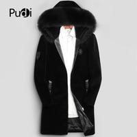 PUDI 2018 Man coats winter new fashion 100% wool long jackets with hood fall winter casual outwear MT804