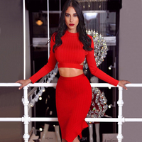 High Quality Women 2 Two Piece Set Bandage Dress 2018 New Style Fashion Red Long Sleeve Cut Out Sexy Evening Party Dress Vestido