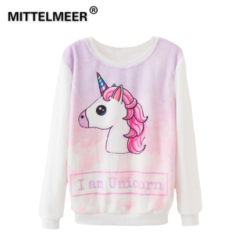 b180bbeb431 MITTELMEER 2018 bts Harajuku Sweatshirt Woman girls crop top Cartoon unicorn  Flamingos fruit printing Flannel Sweatshirt Hooded
