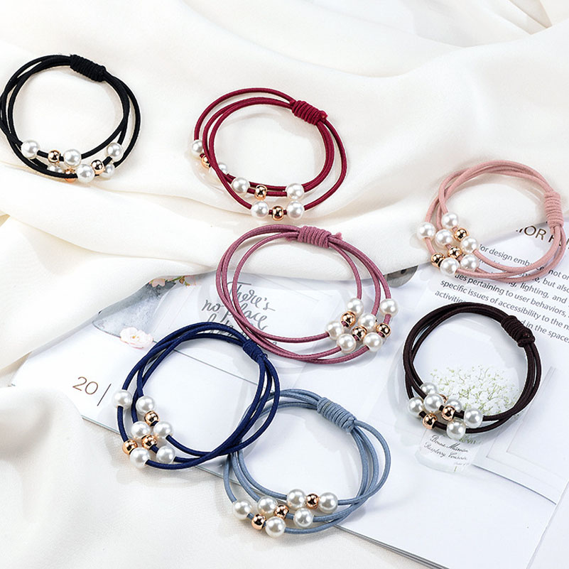 2018 Hair Accessories Pearl Elastic Rubber Bands Hand Knotted Hair Band Hair Jewelry Ring   Headwear   Girl Elastic Hair Band