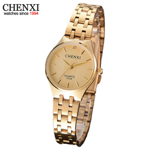 CHENXI Марка Водонепроницаемый Женщин Золотые Часы Дамы Кварцевые Часы Золотой Женщин Наручные Часы Relógio Feminino Reloj Mujer Montre Femme