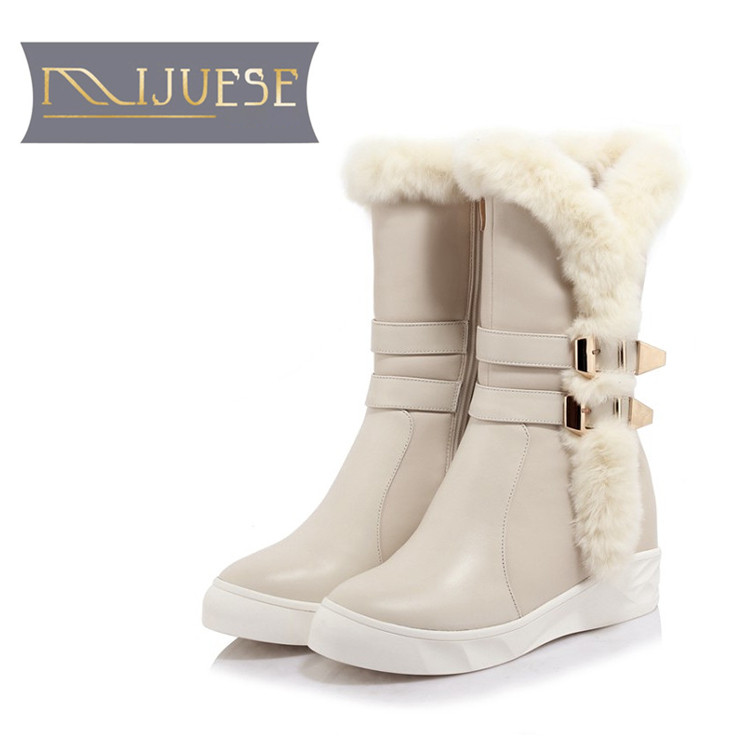 цена на MLJUESE 2019 women Mid-calf boots cow leather buckle strap rabbit hair winter warm short plush fur female boots snow boots