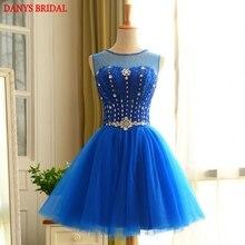 Azul real Vestidos de Coctel Cortos Para Mujer Sexy Coctail Vestido de Fiesta de Cristal Con Cuentas de Baile vestidos de coctel jurk