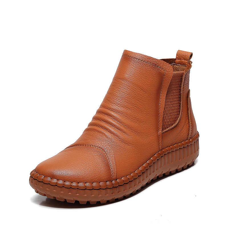 2018 ilkbahar ve sonbahar yeni kadın ayakkabı düz dipli eğlence yumuşak alt sığır deri çizmeler