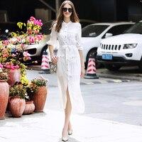 Женское платье Подиум 2019 летняя рубашка формальная элегантная белая однотонные OL Офисная Леди работа однобортная рубашка длинное платье
