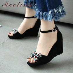 Meotina/Женская обувь, сандалии, летняя обувь из натуральной кожи с пряжкой, обувь на толстом высоком каблуке, сандалии с открытым носком со