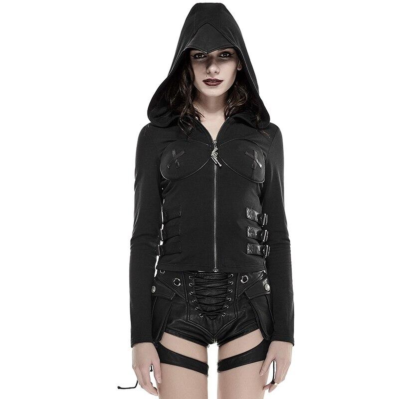 Punk Black Woman Zipper Short Jacket Sexy Skinny Hoodies -9887
