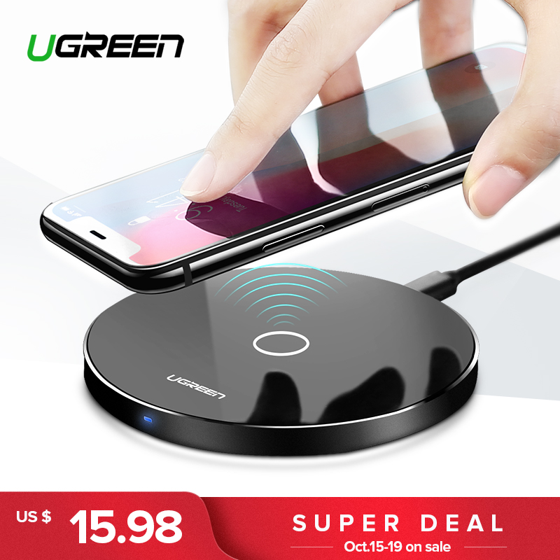 Ugreen Caricatore Senza Fili per iPhone X 8 XS 10 w USB Wireless di Ricarica per Samsung Galaxy S8 S9 S7 Bordo qi Wireless USB Charger