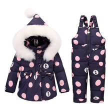 2017 Winter Warm Kids Jumpsuit Baby Snowsuit Nature Fur 90% Duck Down Jacket Coats Winter Park for 2-4yrs Children Overalls jumpsuit duck down hooded fur collarjackets for newborns snowsuit warm overalls wear infant kids girl winter romper clothing set