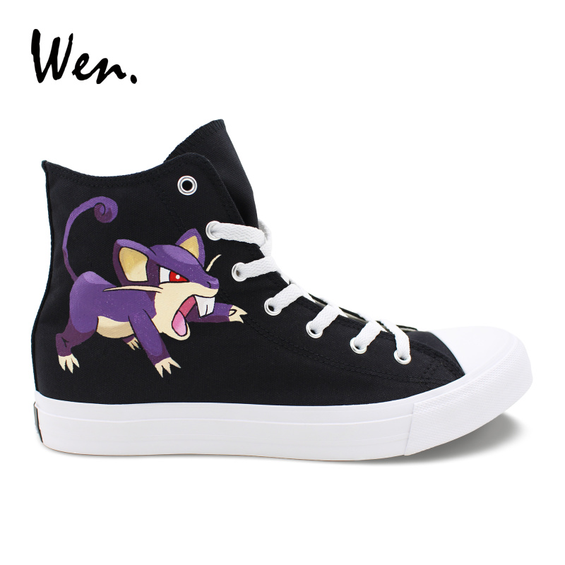 Wen Unisex Design Pokemon Pocket Monster Hand Painted Skate Shoes Rattata Black High Top Boy Girls Canvas Sneakers Unique Gifts