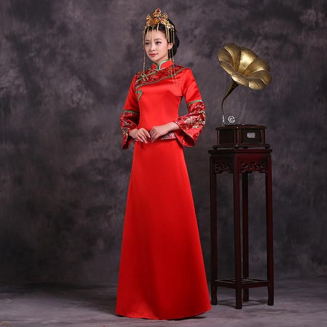 Chinese Traditional Dress 2016 Red Bride Wedding Qipao Dress Suits Wo Long Cheongsam Qi Pao Vestido De Festa Free Shipping