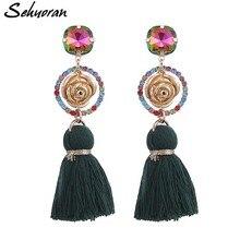 Sehuoran Tassel Earrings Drop Bohemian Oorbellen Long For Women Flower Fashion Jewelry Wholesale Party Gifts