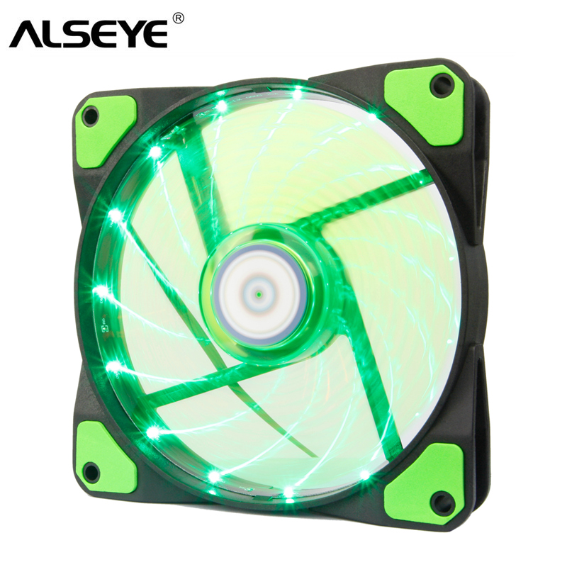 ALSEYE PC Cooler Computer Case Fan Green LED 120mm Fan Cooling 12v 1300RPM 3-4pin cooler for cpu color red blue and green