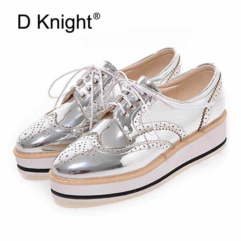 39001255ef44e Vintage Women's Casual Oxfords Shoes Plus Size 34-43 Carved Bullock Shoes  Woman Bright Patent