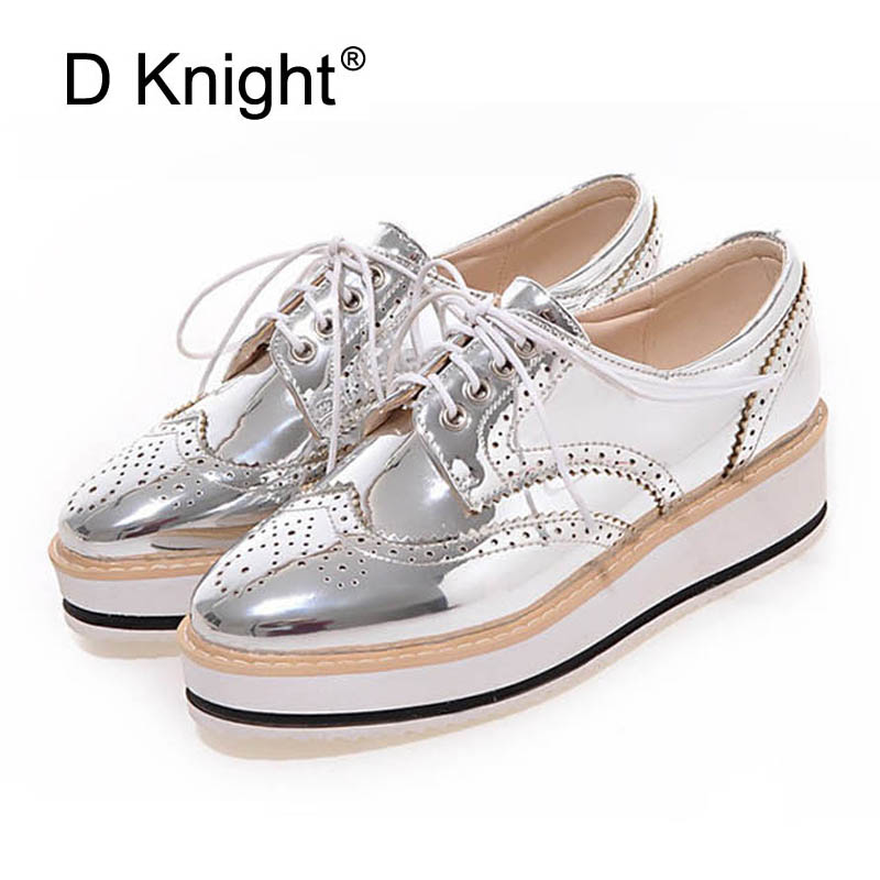 New Womens Winged Oxford Lace Up Striped Platform Metallic Silver Black Fashion Vintage Platform Bullock Low Heels Female Shoes