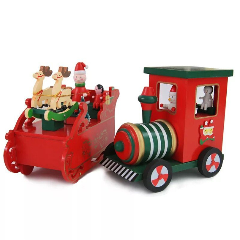 new 1pieces/lot lovely wood train music box Christmas decoration toy Christmas products window decoration kids toys