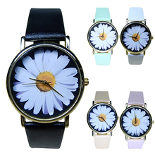 Hot Sales 2015 New Women's Student's Daisy Wrist Watch Quartz Analog Faux Leather Flower Pattern 5V3B