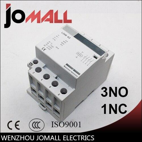 wholesale 4P 63/40A 220V/230V 50/60HZ din rail household ac contactor 3NO 1NC