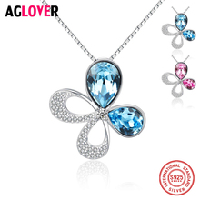 Genuine 925 Sterling Silver Austrian Crystal Four Leaf Leaves Clover Heart Rhinestones Women Necklace Pendant Jewelry все цены