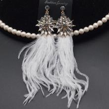 Fashion Sweet Feather Drop Earrings Real Ostrich hair Tassel Crystal Long Dangle Earring for Women Jewelry