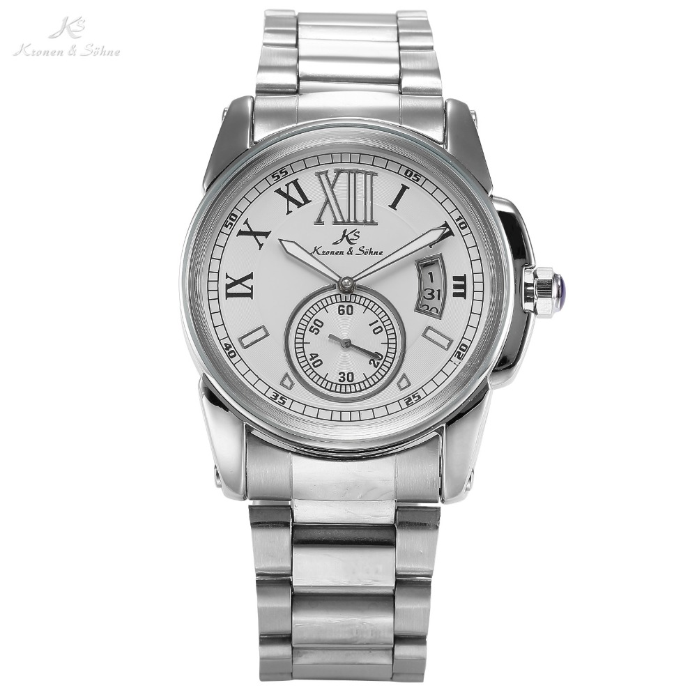 Brand KS Business Casual Watch Men's White Roman Dial Automatic Mechanical Analog Date Stainless Steel Band Wrist Watch / KS065 paidu fashion men wrist watch casual round dial analog quartz watch roman number faux leatherl band trendy business clock