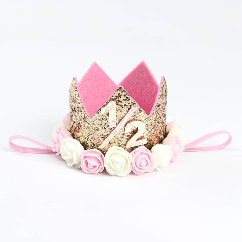 1 шт счастливые шляпы для вечеринки по случаю Дня рождения декоративная крышка один день рождения шляпа Принцесса Корона 1-й 2-й 3-й год номер детские аксессуары для волос - Цвет: A