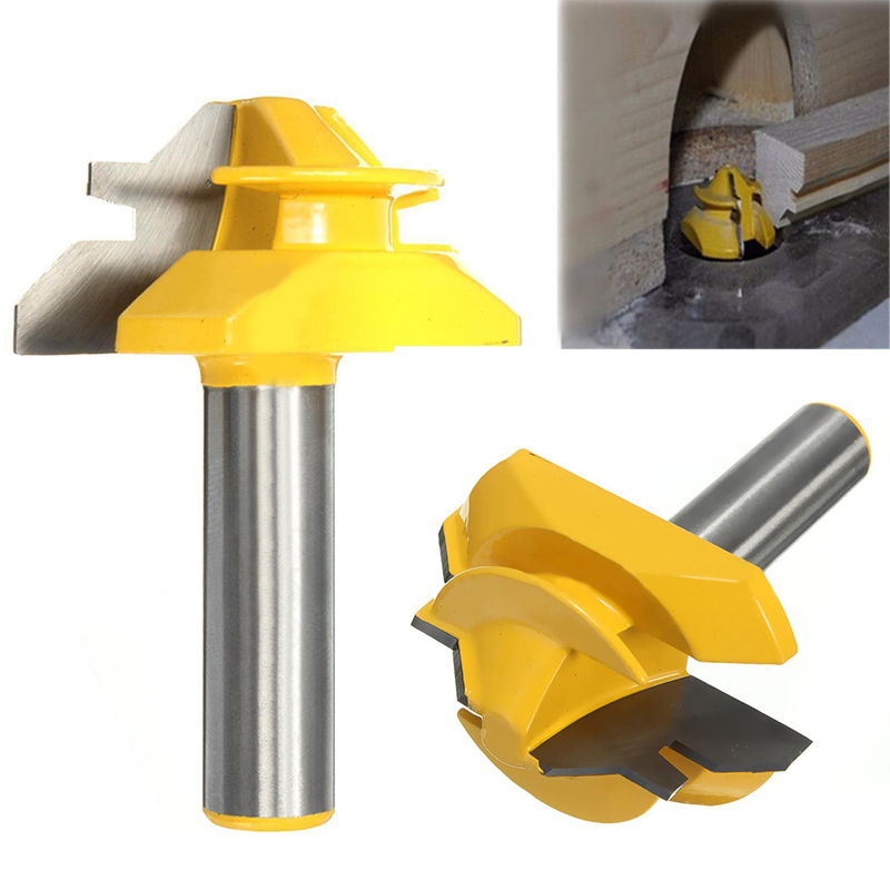 1pc 45 Degree Medium Lock Miter Router Bit 1/2 Shank Joint Woodworking Cutter For Power Tool high grade carbide alloy 1 2 shank 2 1 4 dia bottom cleaning router bit woodworking milling cutter for mdf wood 55mm mayitr