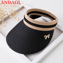 ANDAOL New Female Baseball Casual Hat Top Quality Version Of The Wild Sun Outdoor Travel Folding Sunscreen Straw