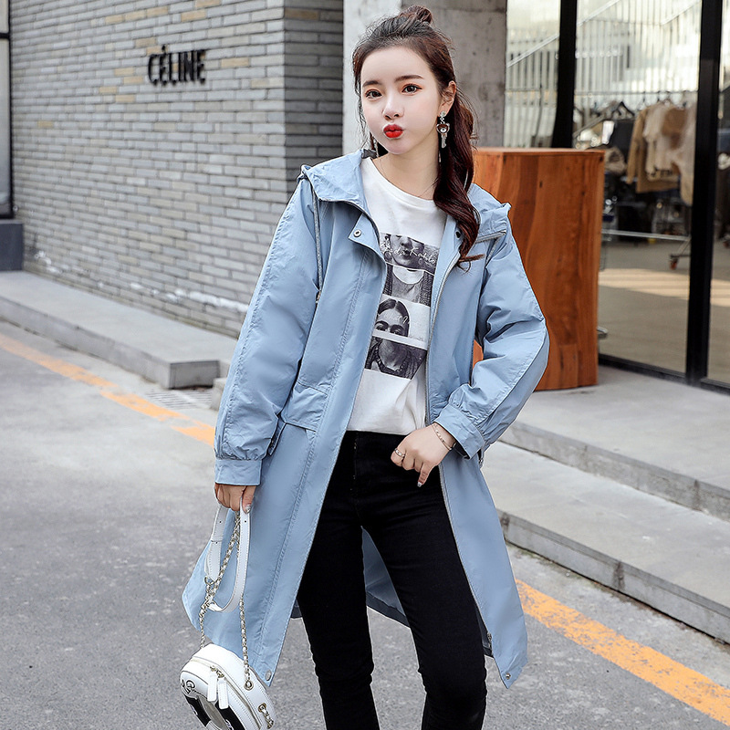 2019 NEW Spring Autumn Women's   Trench   Coats Casual Long Sleeve Hooded Long Windbreaker Outerwear x910