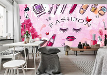 Fashion HD Europe and America hand-painted cosmetics wallpaper shop makeup shop background wall russian fashion shop