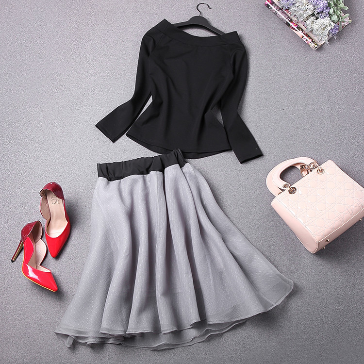 New-Spring-Summer-Women-s-Skirt-Suits-Elegant-Ladies-Black-Blouse-And-Pleated-SkirtWith-Bows-Clothing (3)