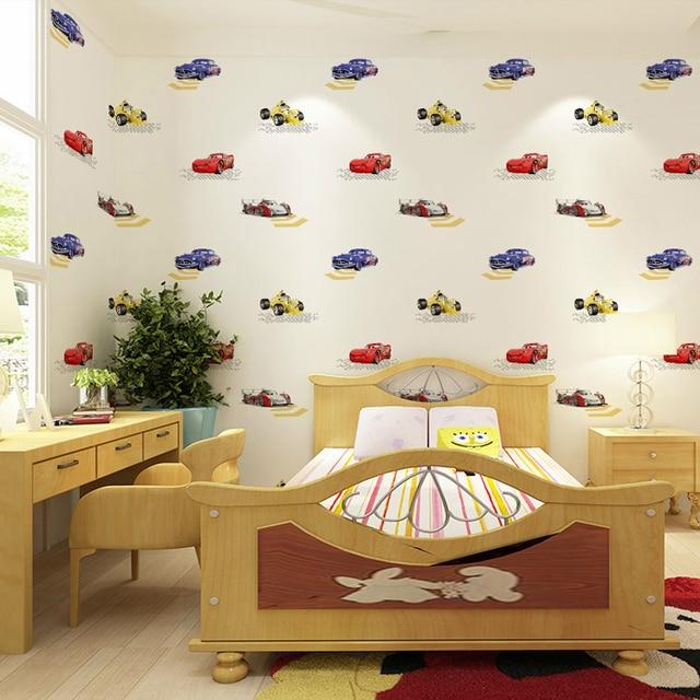kinderen behang jongens slaapkamer nonwovens ademend milieuvriendelijke cartoon cars kinderkamer 3d muurschilderingen