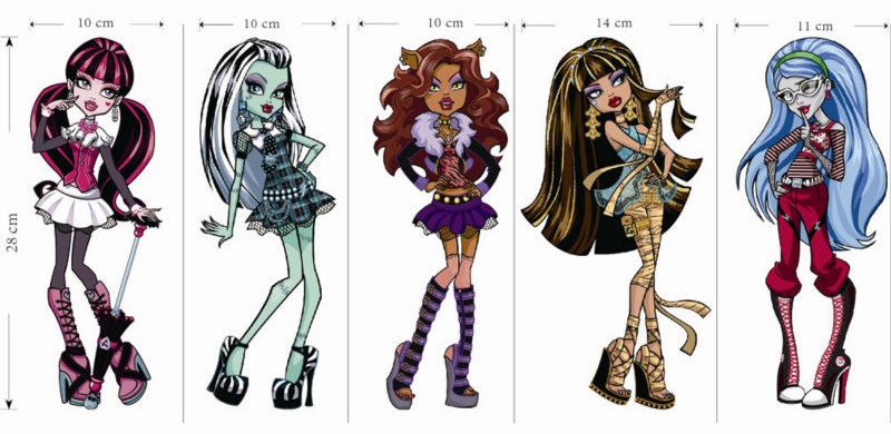 Monster High de Dibujos Animados Extraíble Pegatinas de Pared para Niños Habitac