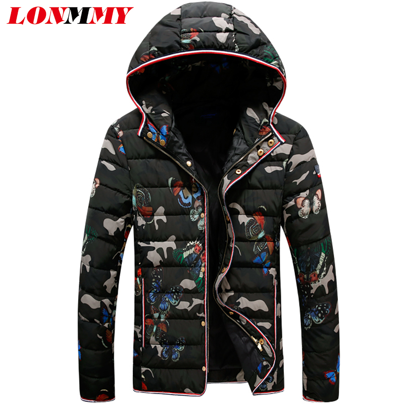 LONMMY 3XL 2017 Winter jackets mens flower Camouflage parka men thicken hooded down jacket men coats Outerwear Fashion New
