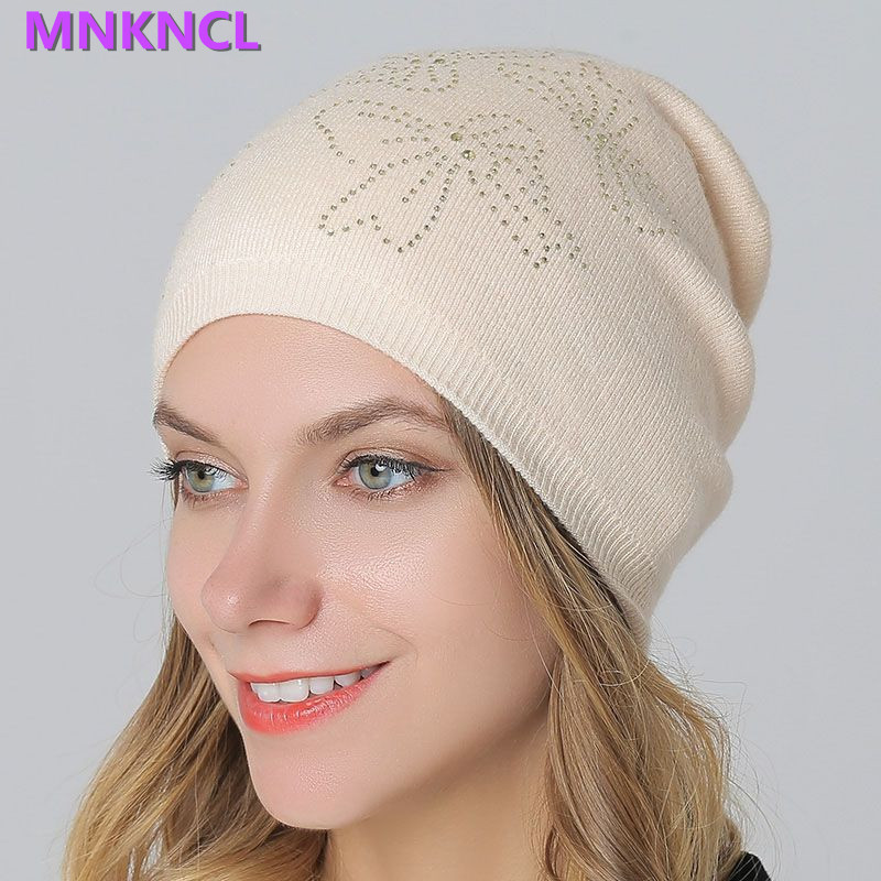 Wool Hats & Caps for Women Winter Outdoor Casual Skullies & Beanies Rabbit Fur Thick Hat with Diamond Fashion Cap Rhinestone 2017 classic russian women super good quality wool beanies hats with real fur ball knit caps solid skullies casual cap