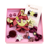 Bebe Gift Girl Hair Clips Children Hair Accessories Girls Handmade Ribbon Flower Hairpins With Gift Box