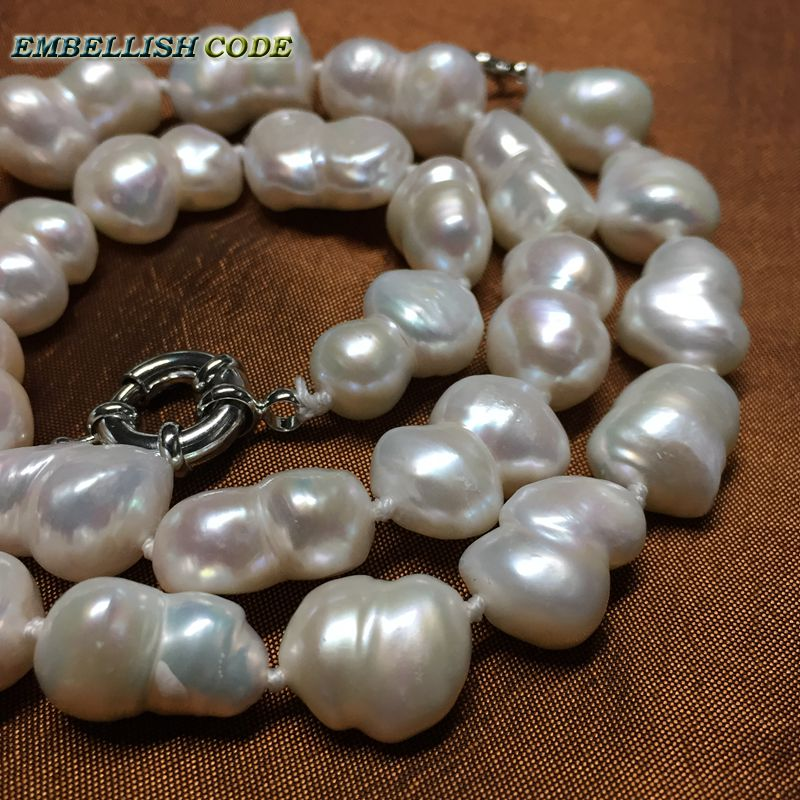 selling well good quality Baroque keshi style Peanut shape real pearls statement necklace white fine jewelry Special